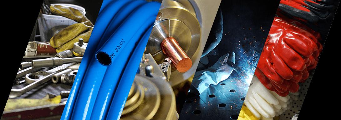 Eine Collage aus mehreren Bilderns mit Drahttechnik, Schlauchtechnik, Maschinentechnik, Schweißtechnik, Arbeitsschutz